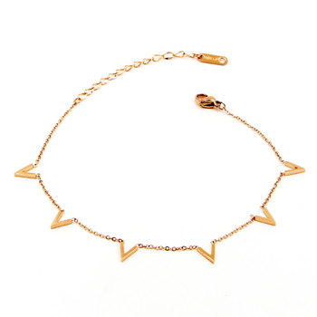 Fashion Jewelry 6 V Letter Rose Gold Anklet Titanium Steel Foot Chain Woman Jewelry Anklet Length 20cm + 5cm 2