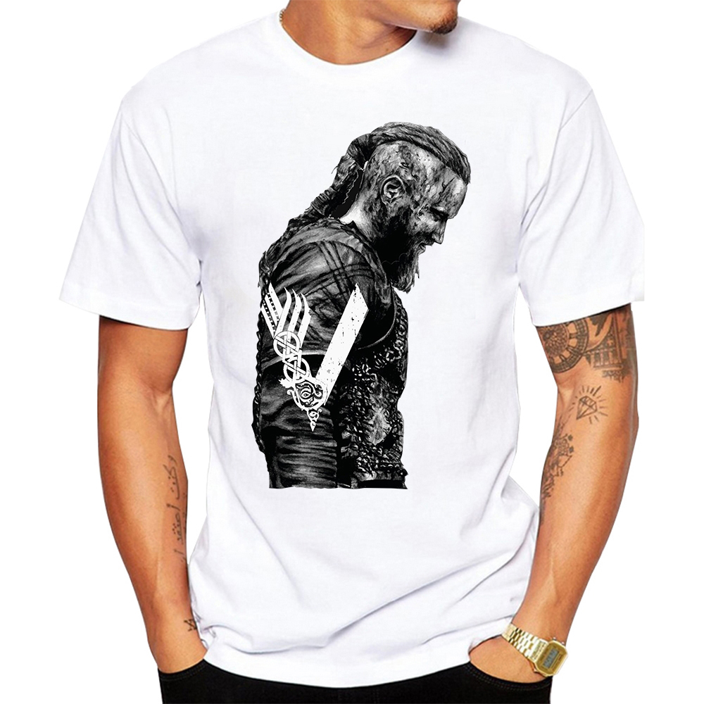 T-shirts King Ragnar Lothbrok Vikings Man Organic Short Sleeve T-shirts Warm Round Neck Man T-shirt Design