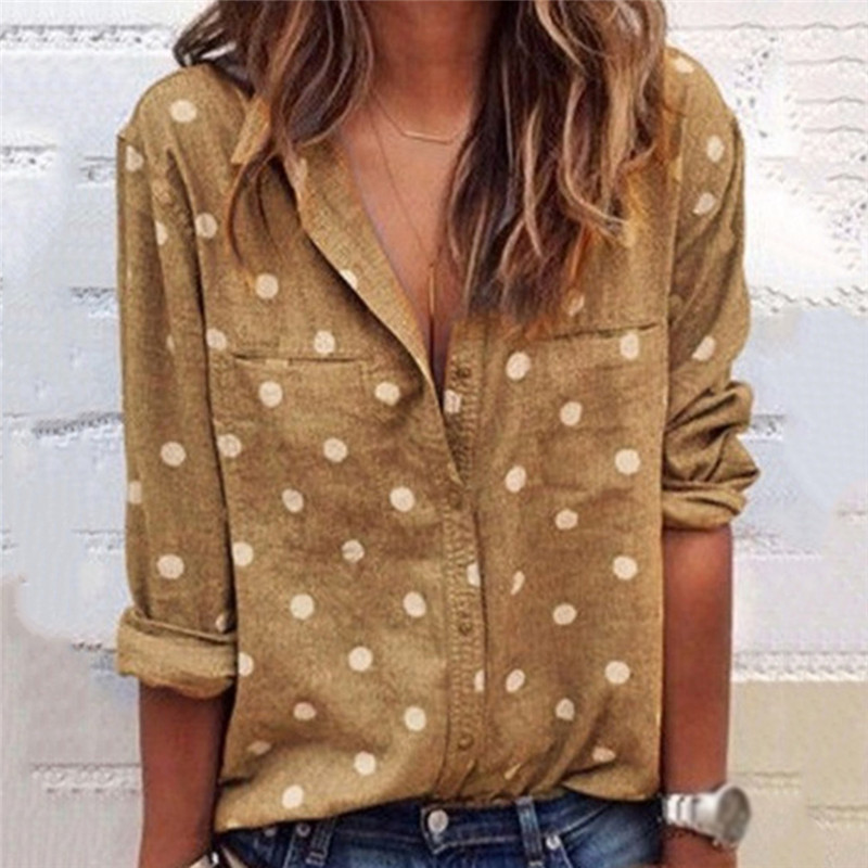 Casual Loose Large Size Women Blouses Summer Shirt Soft Blouse Long Sleeve Polka Dot V-Neck Shirts Top Tees