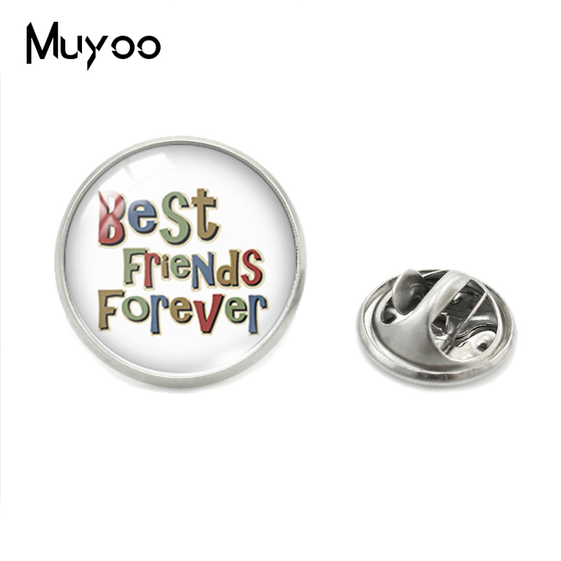 US $1.09 10% OFF New Fashion Best Friend Forever Friendship Words Glass  Dome Lapel Pins I Love My Friends Best Friends Quotes Jewelry Collar Pin-in  ...