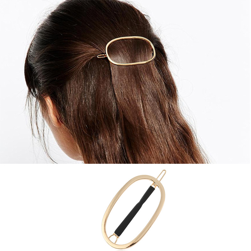 Haimeikang Fashion Alloy Hair Clip Twist Pearl Rhinestone Clip Hollow Glossy Round Square Hairpin Women Hair Accessories