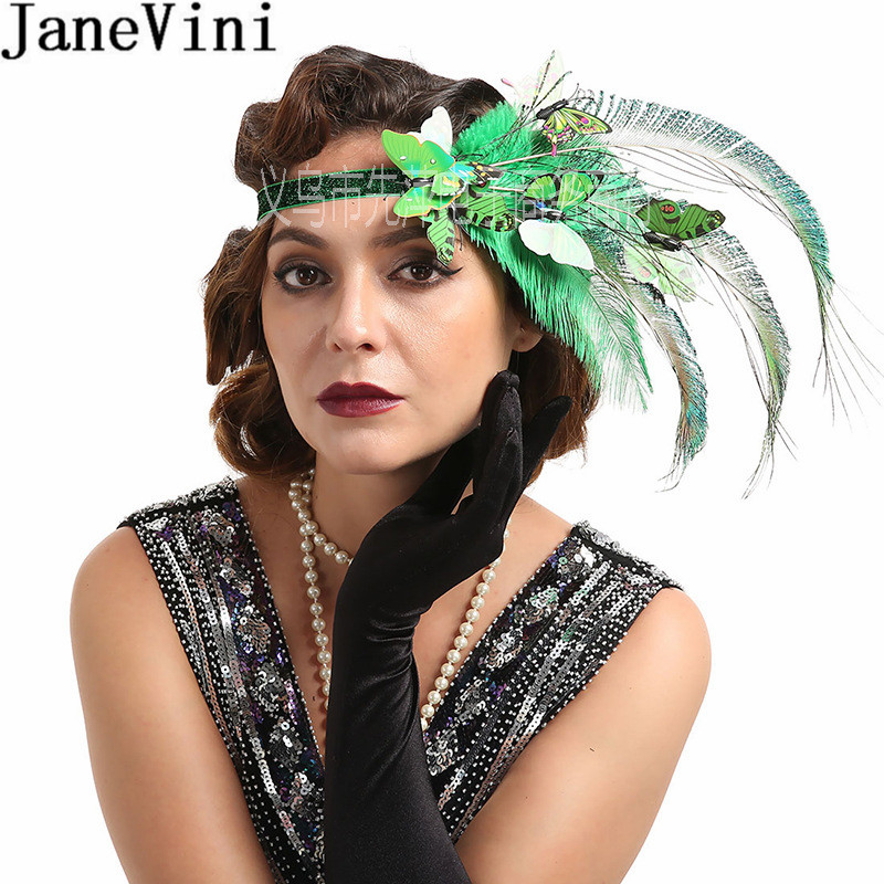 JaneVini 2020 Ostrich Feather Bridal Hair Accessories Green Butterfly Women Headband Blue Wedding Hats Fascinators Headdress