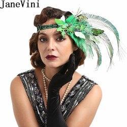 JaneVini-accessoires de cheveux d'autruche, plume d'autruche, bandeau papillon vert, pour femmes, chapeaux et coiffures de mariage, 2020