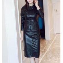 Осенние черные полиуретановые футляры приталенных дамских платьев