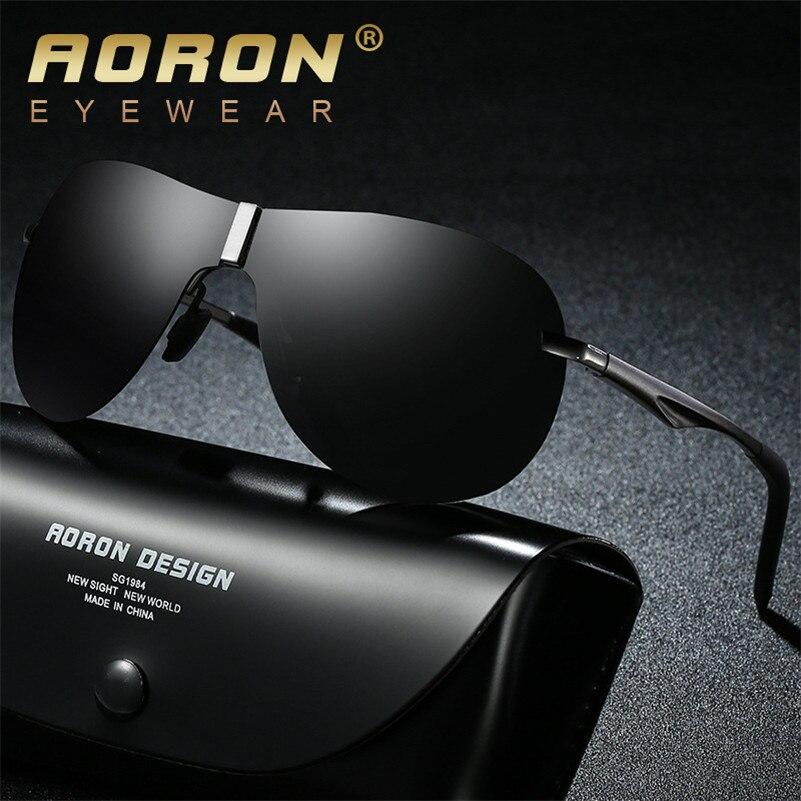 AORON Sunglasses men polarized Night Vision Glasses BRAND DESIGN Aluminum Magnesium Frame Driving Square Style Eyeglasses S5