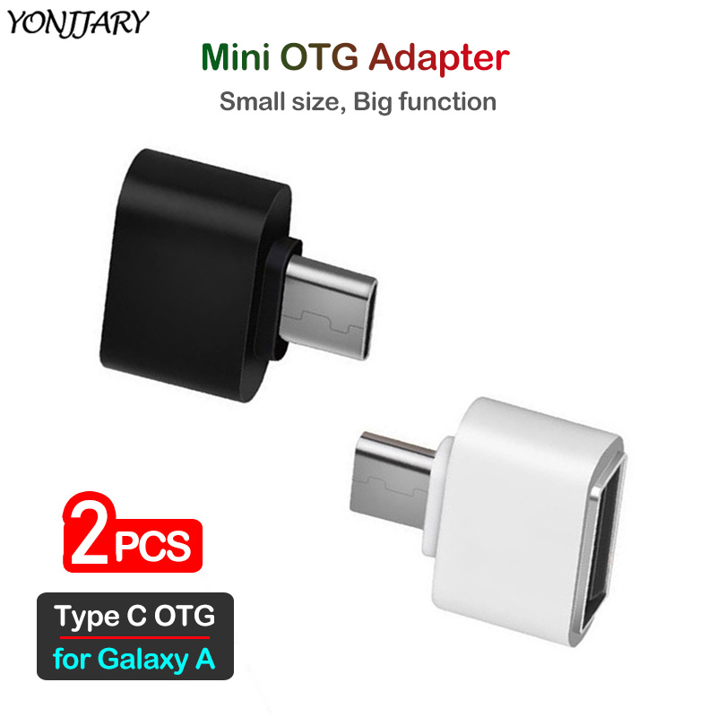 2Pcs Type C USB OTG Adapter For Samsung Galaxy A20 A30 A40 A50 A60 A70 A80 A90 A10e A20e A20S A30S A50S A70S USB-C OTG Connector