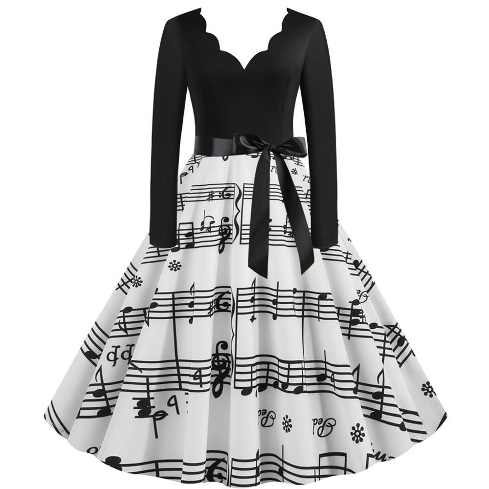 Christmas Dress Women Musical Note Printed Bandage Bow Big Swing Long Sleeve Party Dress  Xmas Women Black Dress