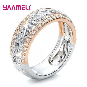 Luxury Engagement Promise Ring For Women Fashion Jewelry CZ Cubic Zircon 925 Sterling Silver Flower Wedding Band Wholesale - discount item  35% OFF Fine Jewelry