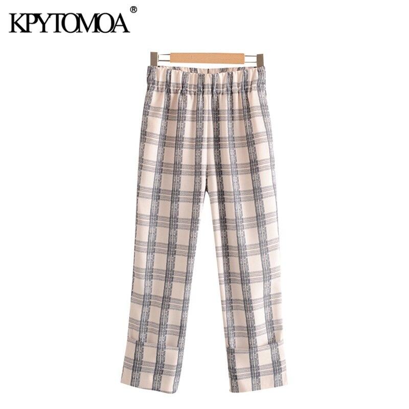 KPYTOMOA Women 2020 Chic Fashion Plaid Straight Pants Vintage Elastic Waist Side Pockets Female Ankle Trousers Pantalones Mujer
