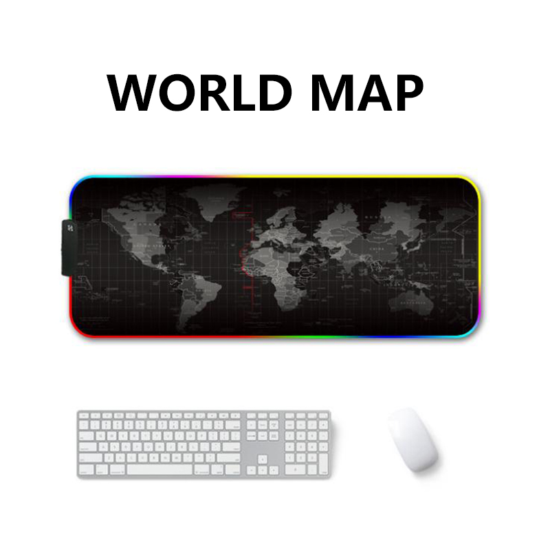 LED RGB USB Mouse Pad Gaming Mice Map Large Big Lighting Backlit Rainbow Gamer XL Mousepad <font><b>900x400</b></font> Surface Keyboard DeskMat Maus image