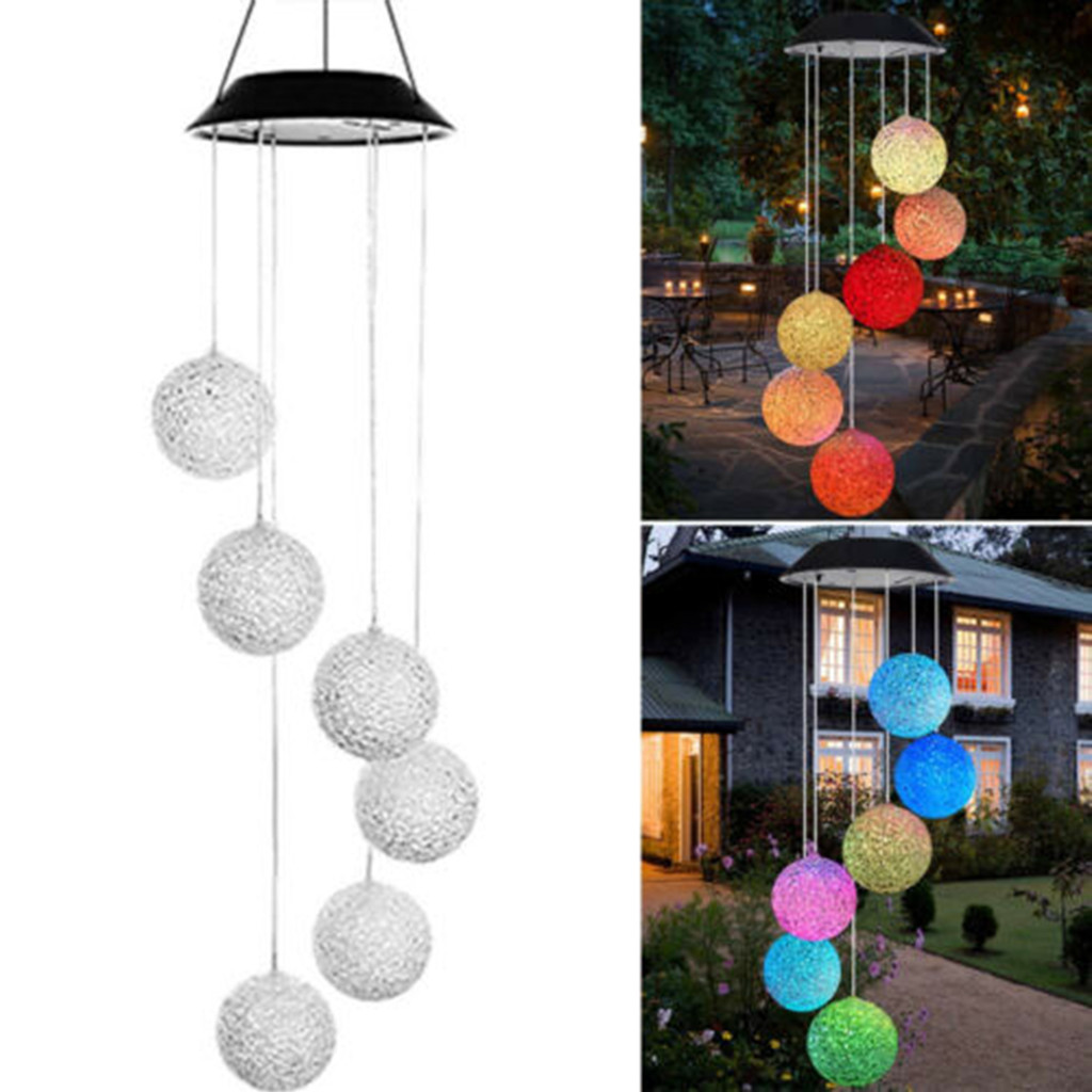 LED Solar Wind Chime Light Waterproof Outdoor Garden Decor Hanging Lamp *DC