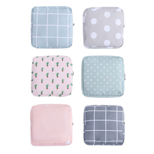 Women Girl Tampon Storage Bag Grid Dot Sanitary Pad Pouch Napkin Towel Cosmetic E7CB