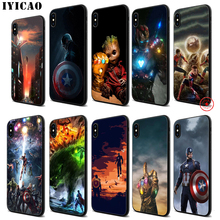 IYICAO Marvel Avengers Soft Black Silicone Case for iPhone 11 Pro Xr Xs Max X or 10 8 7 6 6S Plus 5 5S SE iyicao marvel comics the black panther soft black silicone case for iphone 11 pro xr xs max x or 10 8 7 6 6s plus 5 5s se