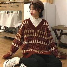 Pull à col en v pour femme, Vintage, Style coréen Argyle, Chic, assorti, étudiant, Style paresseux, populaire, nouvelle collection hiver