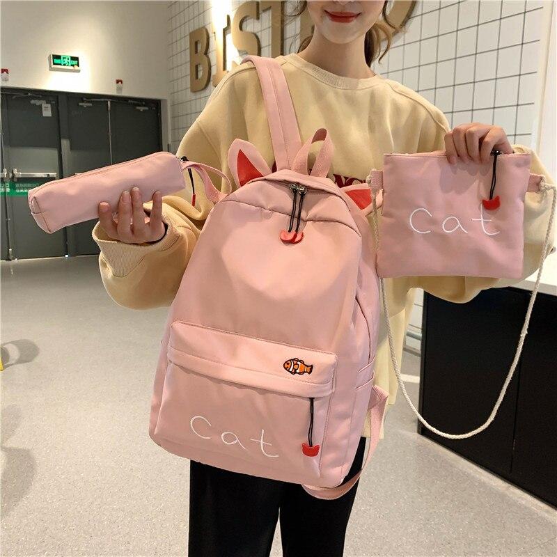 3 Pcs Cute Schoolbags Waterproof School Bags Girls Kids Bookbag Cat Bagpack School Backpack Backbag for teenager Rucksack 2020