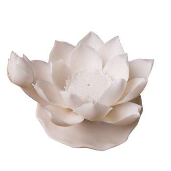 Ceramic White Flower Incense Burner Porcelain Charcoal Lotus Shape Incense Burner Holder Smoke Room Decoration Mediter II50XXL