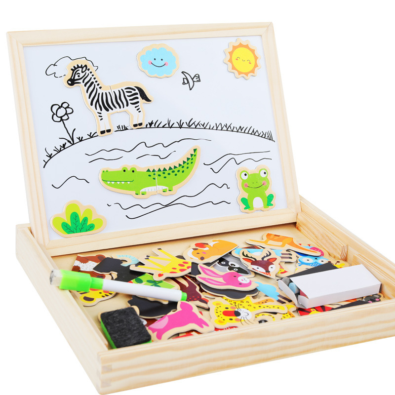 QZM Forest Animal Joypin Drawing Board Double-Sided Magnetic Drawing Board CHILDREN'S Toy Wooden Children Educational Puzzle