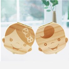 1PC Spanish English Baby Wood Tooth Box Organizer Milk Teeth Storage Collect Teeth Umbilical Cord Save Gifts for Kids Boys Girls(China)