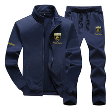 Spring Autumn Men Sportswear Tracksuit Thin Fleece Zip Up Jacket Sweatshirt+pant Jogging Casual Running Workout Outfit Sport Set