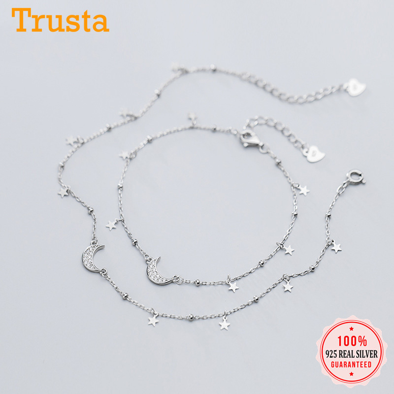 Trusta Authentic 925 Sterling Silver Fashion Dazzling CZ Moon Star Bracelet Anklets For Women Fine Silver Jewelry Gift DA623