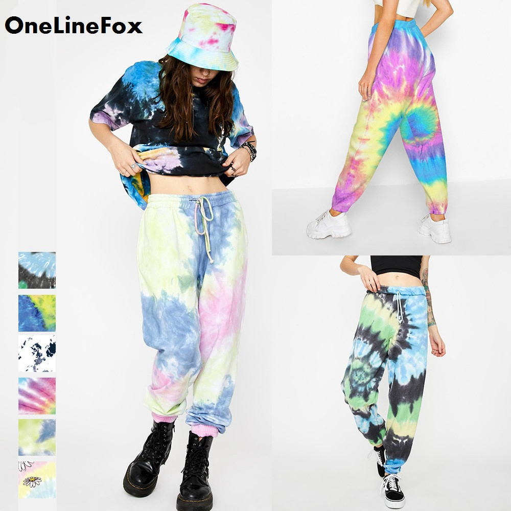 OneLineFox Pink Tie Dye Printed Sweatpants Women Casual Loose Long Trousers Elastic High Waist Pants Capris Joggers Streetwear