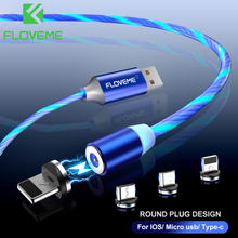 FLOVEME 1M Magnetic Charge USB C Cable Flowing Light USB Type C Cable Fast Charging LED Magnetic Cable for iPhone 11 Xiaomi mi 9