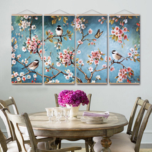 Migratory Birds  Cherry Blossoms  Japanese Canvas Painting With Frame Wall Pictures for Living Room Art Poster Wall Decor