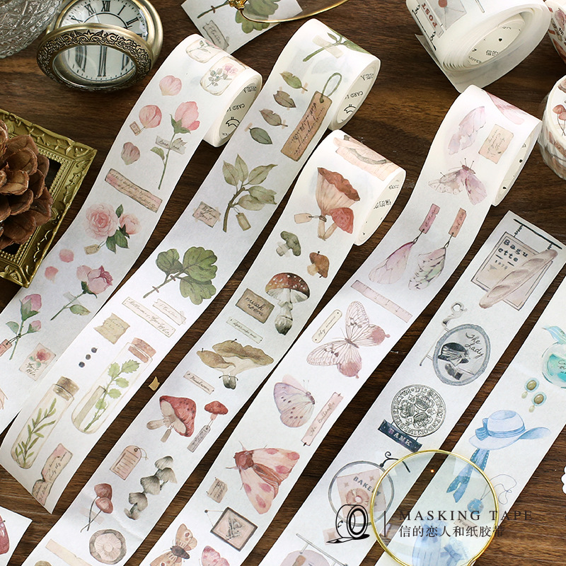 3cm Specimen Museum Series Special Ink Journal Washi Tape Adhesive Tape DIY Scrapbooking Sticker Label Masking Tape