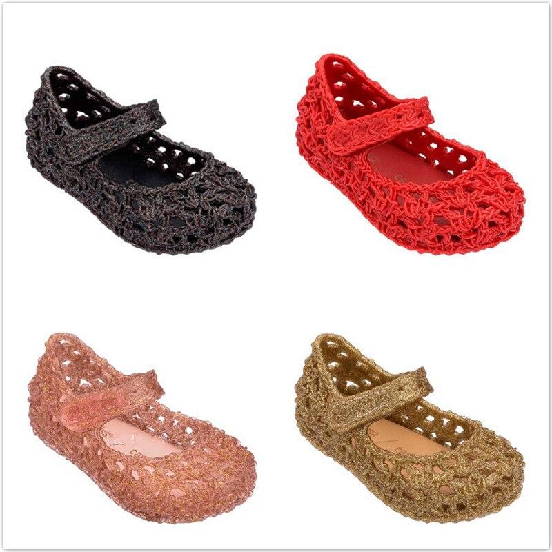 Mini Melissa 2019 New Princess Net Bird Shoes Sandals Hollow Mini Melissa Jelly Sandals Melissa Baby Non-slip Jelly Shoe SH19042