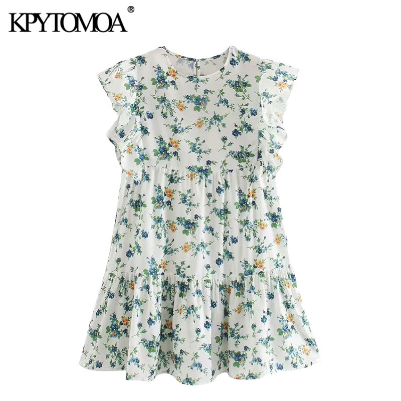 KPYTOMOA Women 2020 Sweet Fashion Floral Print Ruffled Mini Dress Vintage O Neck Short Sleeve Female Dresses Vestidos Mujer