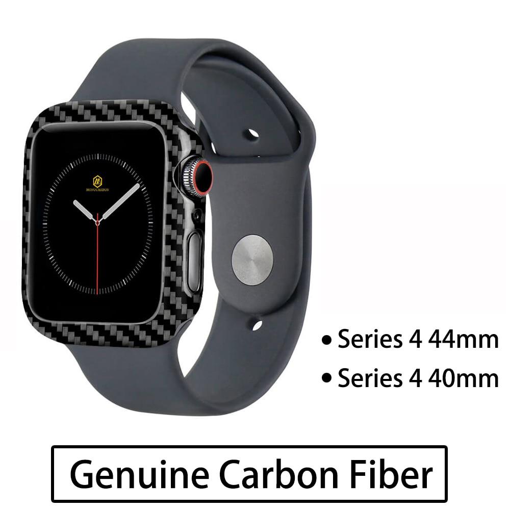 MONOCARBON Тонкий чехол из настоящего углеродного волокна для Apple Watch 44 мм 40 мм серии 4 Gen 4 чехол из углеродного волокна