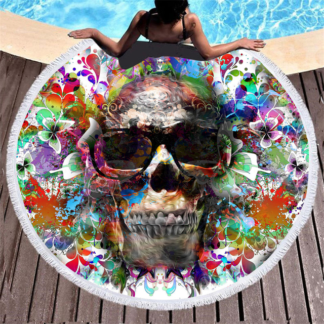 MULTICOLOR SKULL FACE ROUND BEACH TOWEL (7 VARIAN)