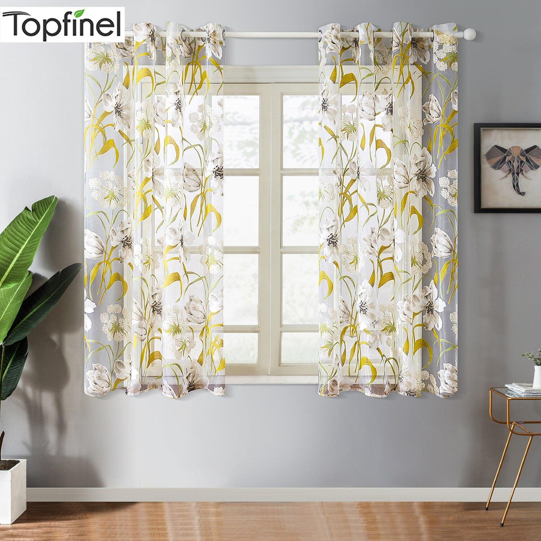 Topfinel Curto de Tule Floral Tropical Cortinas para Sala de estar Cozinha Porta do Quarto De Banho Impresso Cortinas Tratamento de Janela