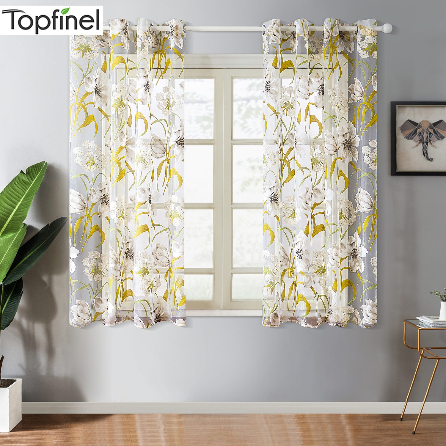 Topfinel Short Tulle Tropical Floral Sheer Curtains for Living Room Kitchen Bath Room Door Printed Window Treatment Curtains