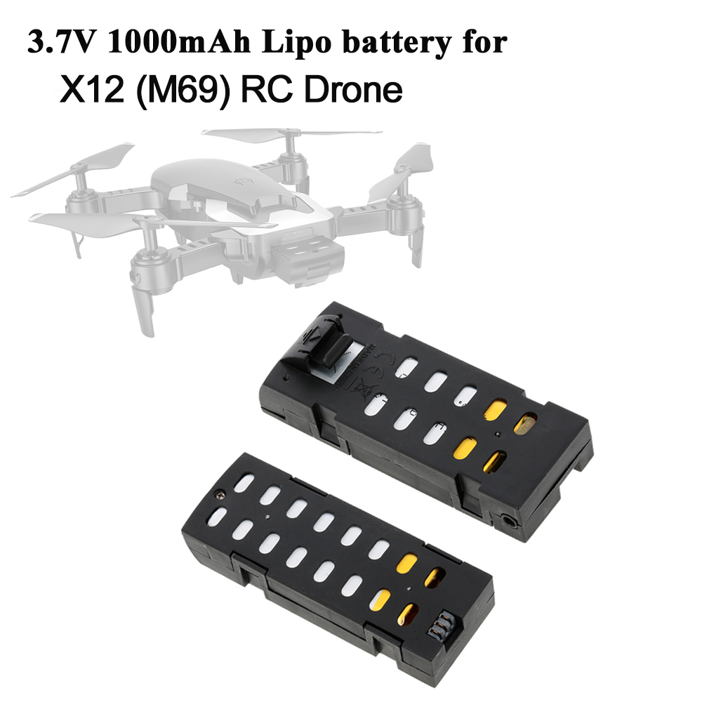 M69 RC Drone Battery 3.7V 1000mAh Lipo Battery For X12 Quadcopter Helicopter Drone Wifi FPV Spare Parts Rechargeable Accessories