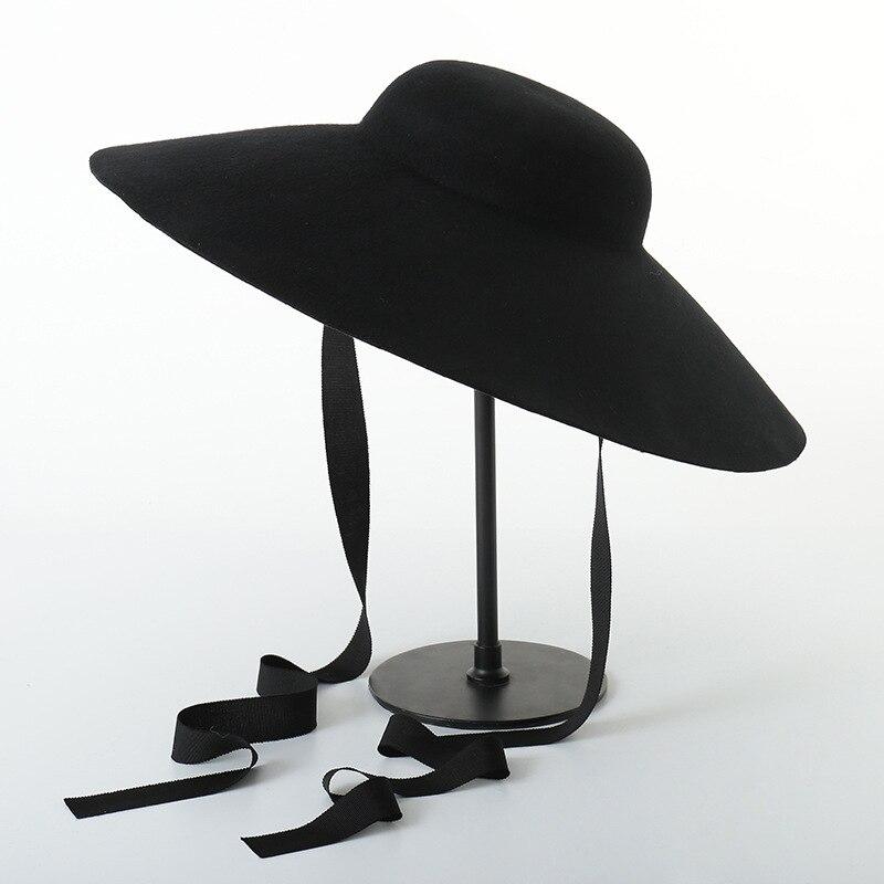 Nouveau rétro dôme laine casquette noir ruban cravate laine haut chapeaux large bord Fedora scène style casquette noir chapeau