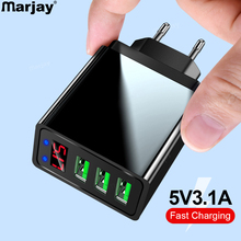 Marjay 3 Ports USB Charger EU US Plug LED Display 3.1A Fast Charging Smart Mobile Phone Charger For iphone Samsung Xiaomi Tablet quick charge 3 0 usb charger travel for iphone samsung micro usb type c fast charging 3 ports eu us plug mobile phone charge