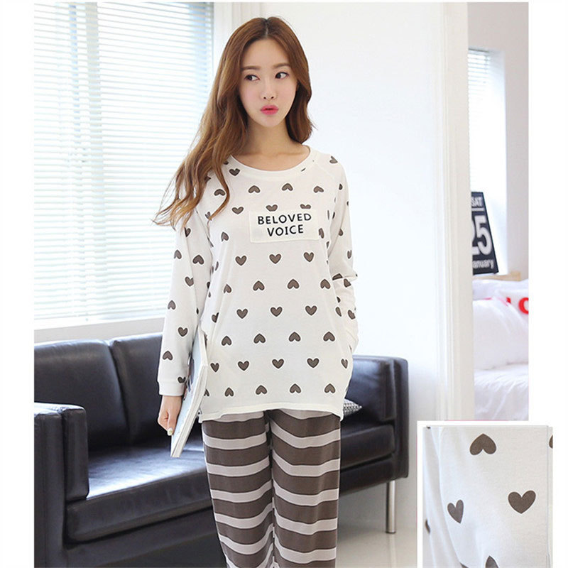 Jun Xin Pajamas Women's Spring And Autumn Sweet Printed Thin Pullover Pajamas Peach Heart Stripes Brown Pants Long Sleeve Tracks