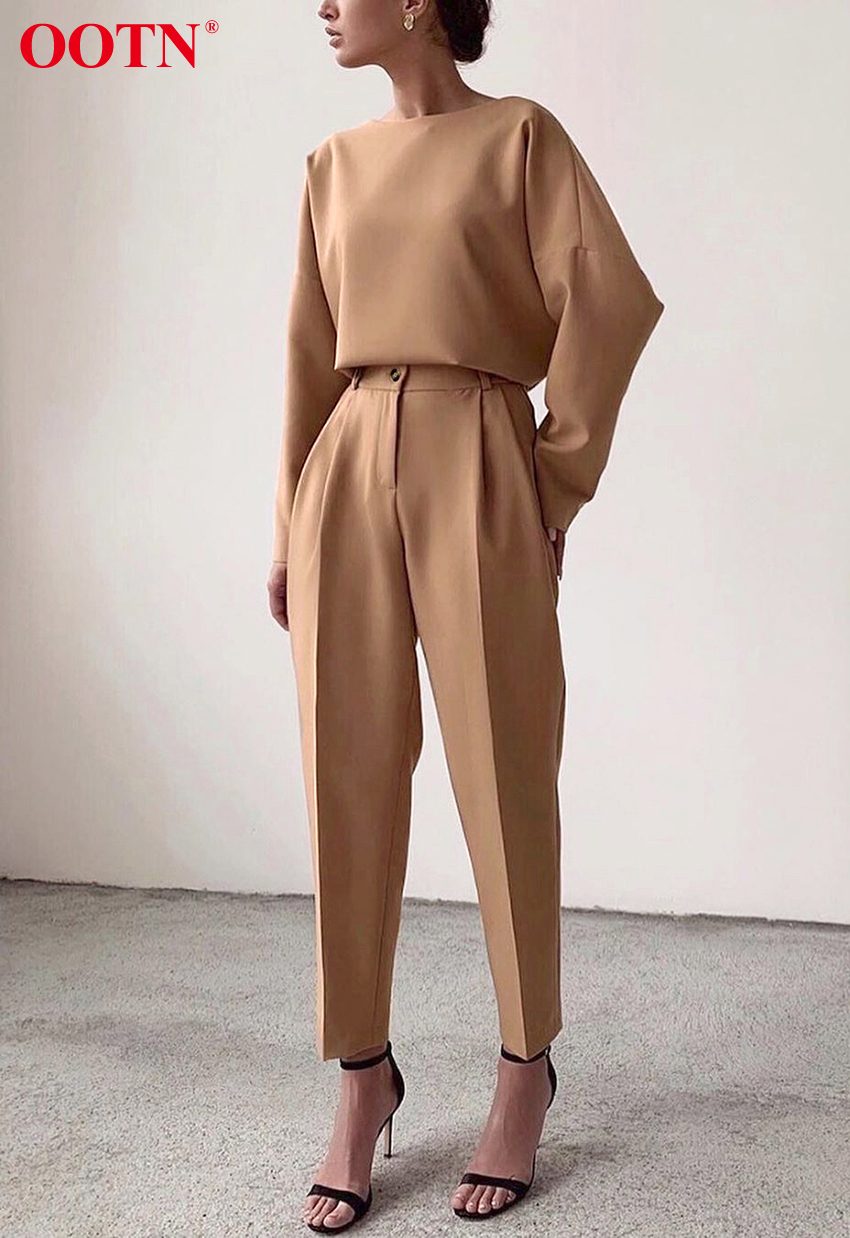 H9e0abf4dfc3d4f7295ac83c1f66132f0t - OOTN Casual High Waist Khaki Pants Women Summer Spring Brown Ladies Office Trousers Zipper Pocket Solid Female Pencil Pants