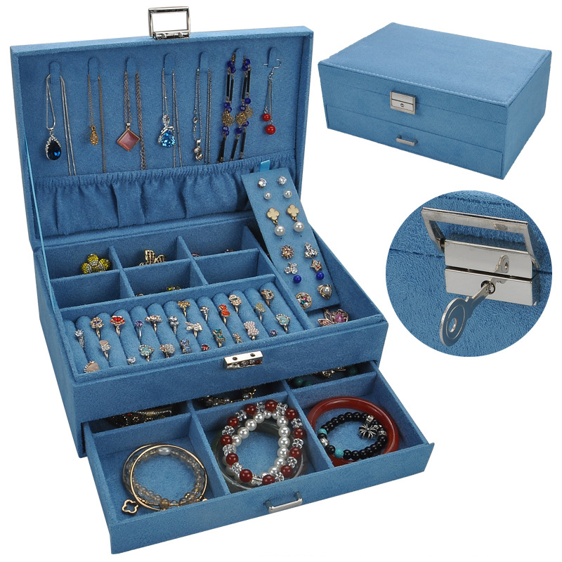 Retro High Grade Flannel Jewelry Box Multi-layer Earrings Storage Case Large Capacity Jewelry Organizer
