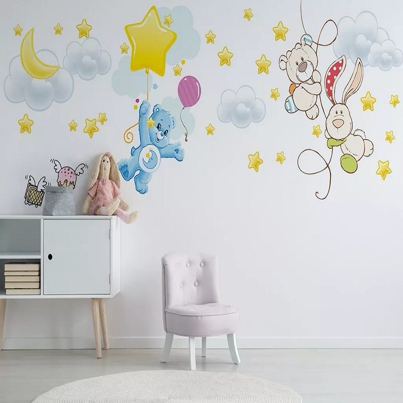 New Custom Large Mural 3D Wallpaper Cartoon Bear Moon Stars Cloud Children's Bedroom Mural TV Back Wall Decor Deep 5D Embossed
