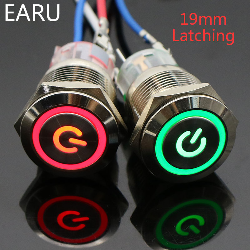 19mm Metal Latching Locking Horn Push Button Switch LED Light Car Auto Power 5V 12V 24V 220V Red Blue Waterproof Stainless Steel(China)