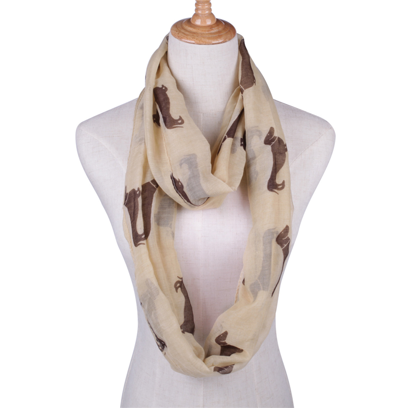 2019  Volie Girls Womens Scarves, Dog Print Scarf, Dachshund Infinity Scarf, Loop Scarf, Wholesale Free Shipping Greyhound Scarf