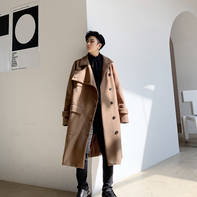 YASUGUOJI Fashion Irregularity Length Single Breasted Mens Coat Winter Long Coat Men Designer Mens Woolen Coat Abrigo Hombre