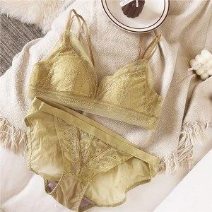 Image 3 - New Womens Comfort Push Up Deep V Bra Set Solid Color Brassiere Bra + Sexy Panties Brief Lace grenadine Lingerie Underwear Set