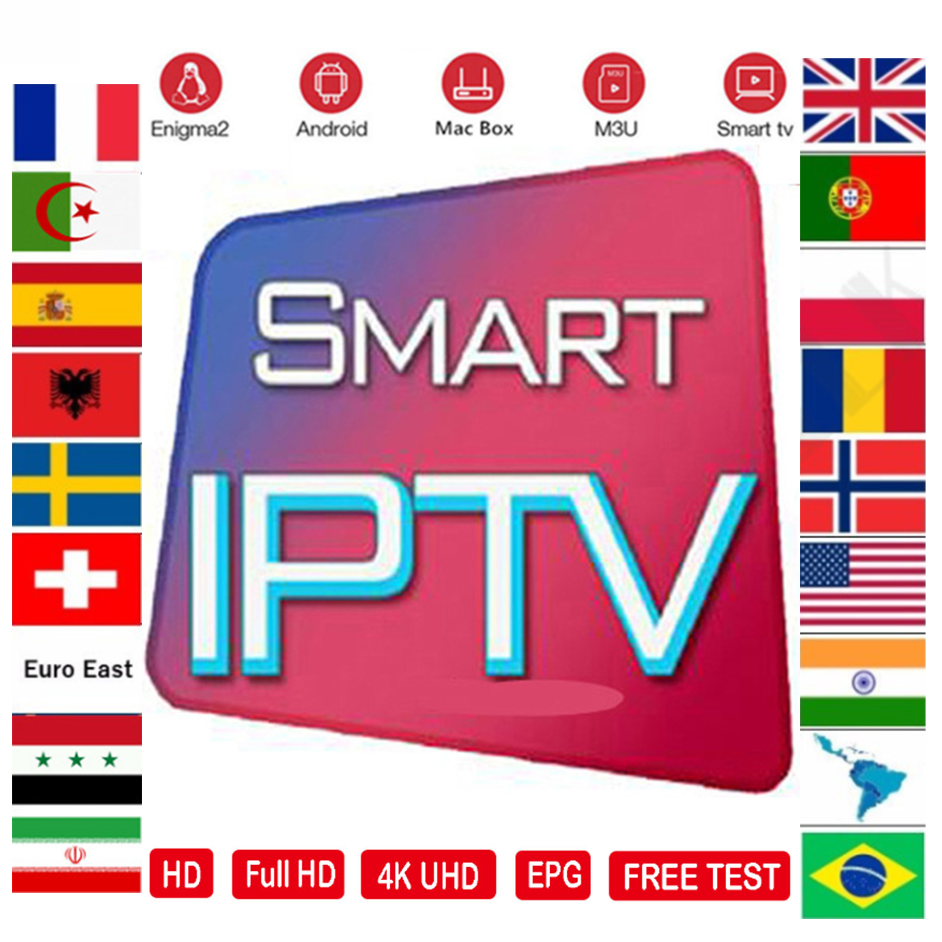 IPTV M3U Subscription 7500+ Andorid TV Box Portugal France Arabic Spain Premium For Android Box Enigma2 Ssmart TV  Box