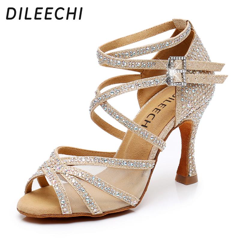 DILEECHI Latin dance shoes gold glitter rhinestones with net Women's Ballroom dancing shoes Salsa soft shoes high heel