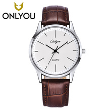 ONLYOU 2019 Women watches Fashion Leisure couples Quartz Wristwatch clock Coffee band College winds 8719