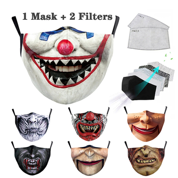 Halloween Print Adult Mask Fashion Reusable Masks PM2.5 with Filter Adult Face Masks Outdoor Facemask Washable Mouth Mask Cloth image