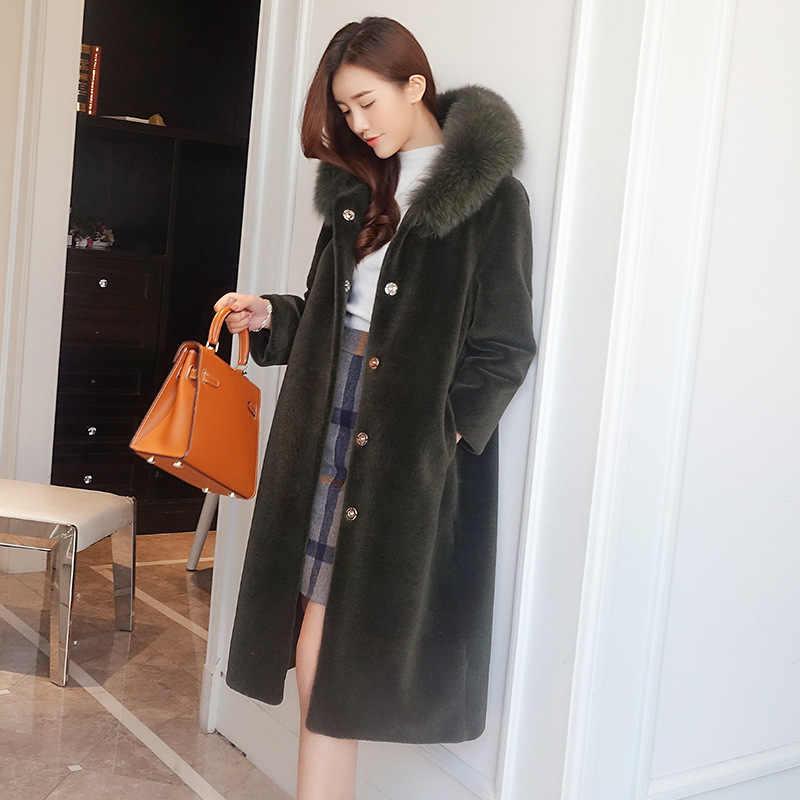 Ovelha shearing casaco de inverno feminino quente casaco de pele real com gola de pele de raposa natural femalle longo com capuz parka mujer abrigo lx2601
